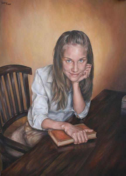 Gemälde, Stuhl, Ölmalerei, Wunderschön, Augen, Portrait