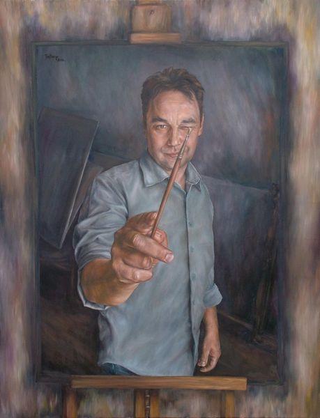 Menschen, Kopf, Malerei, Selbstportrait, Pinsel, Schwarz