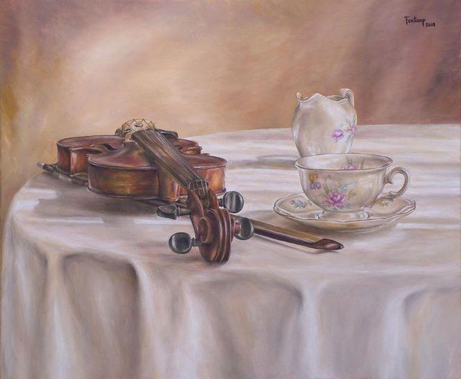 Streichmusik, Blumen, Weiß, Tee, Tasse, Warm