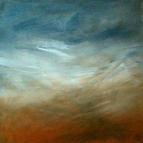 Landschaft, Mix, Acrylmalerei, Grau, Blau, Weiß
