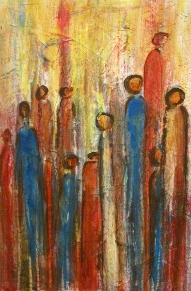 Menschen, Figur, Weiß, Figurativ, Blau, Rot schwarz