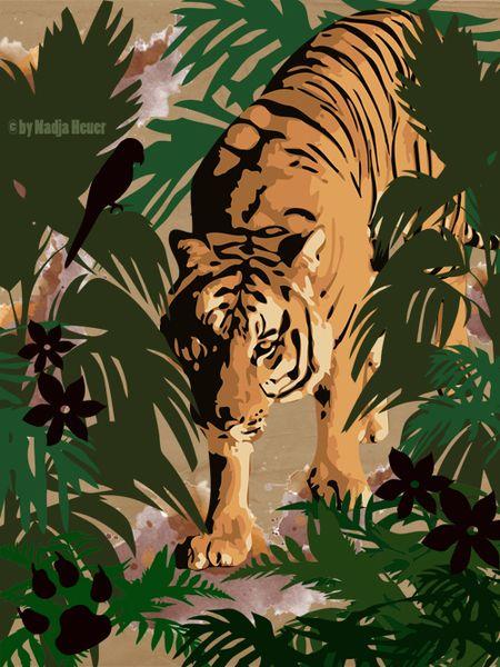 Tiger, Grün, Wald, Katze, Grafik, Urwald