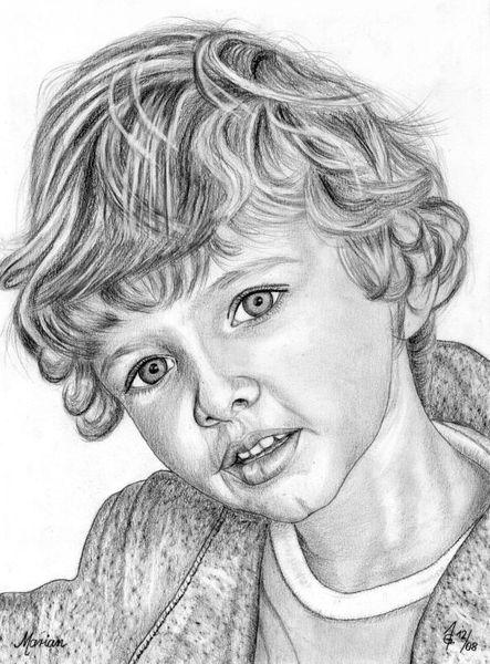 Portrait, Bleistiftzeichnung, Detailtreu, Kinder, Junge, Zeichnungen