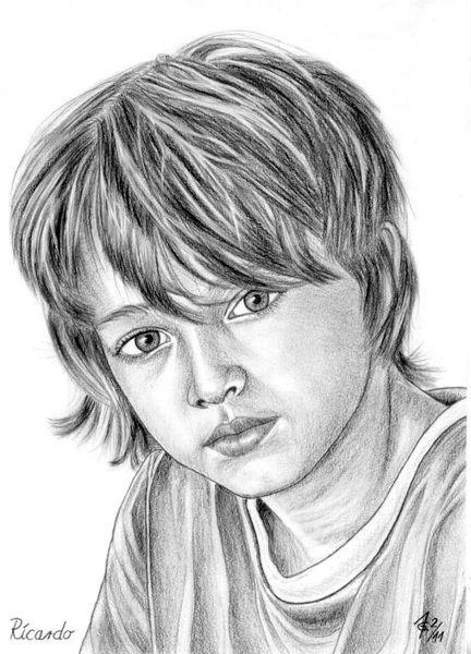 Kinder, Detailtreu, Bleistiftzeichnung, Portrait, Junge, Zeichnungen