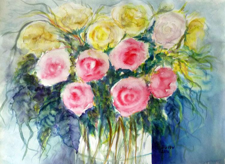 Blumenmalerei, Roenstrauß, Stillleben, Aquarell