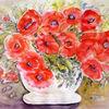 Stillleben, Blumenmalerei, Aquarellmalerei, Mohnblumen