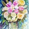 Stillleben, Rosenstrauß, Blumenmalerei, Aquarellmalerei