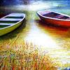 Natur, Boot, Acrylmalerei, Landschaft