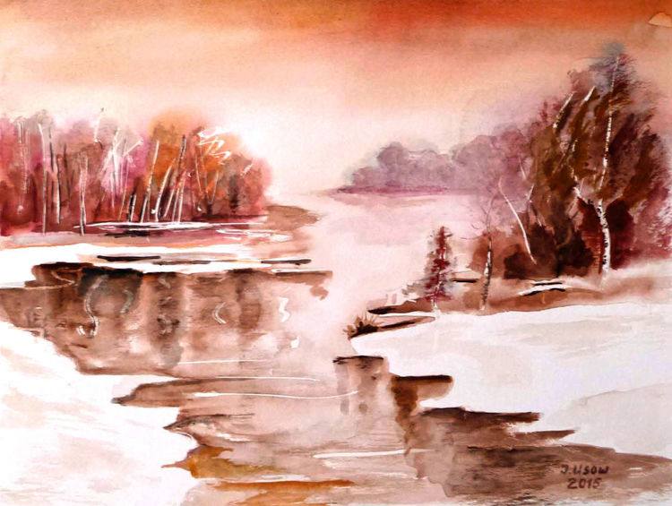 Baum, Natur, Winter, Schnee, Aquarellmalerei, Fluss