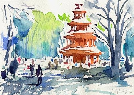 Englischer garten, Aquarellmalerei, Chinesischer turm, München, Aquarell, Turm
