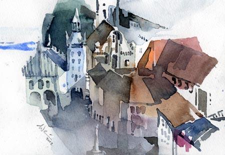 Aquarellmalerei, München, Marienplatz, Aquarell,