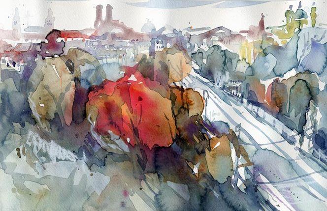 Aquarellmalerei, Maximilianstrasse, München, Aquarell,