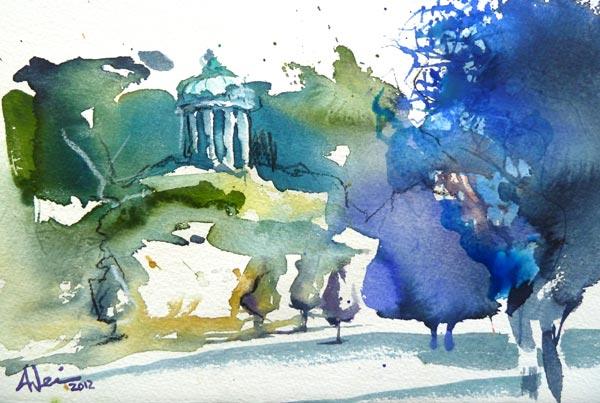 Englischer garten, Aquarellmalerei, Monopteros, München, Aquarell,