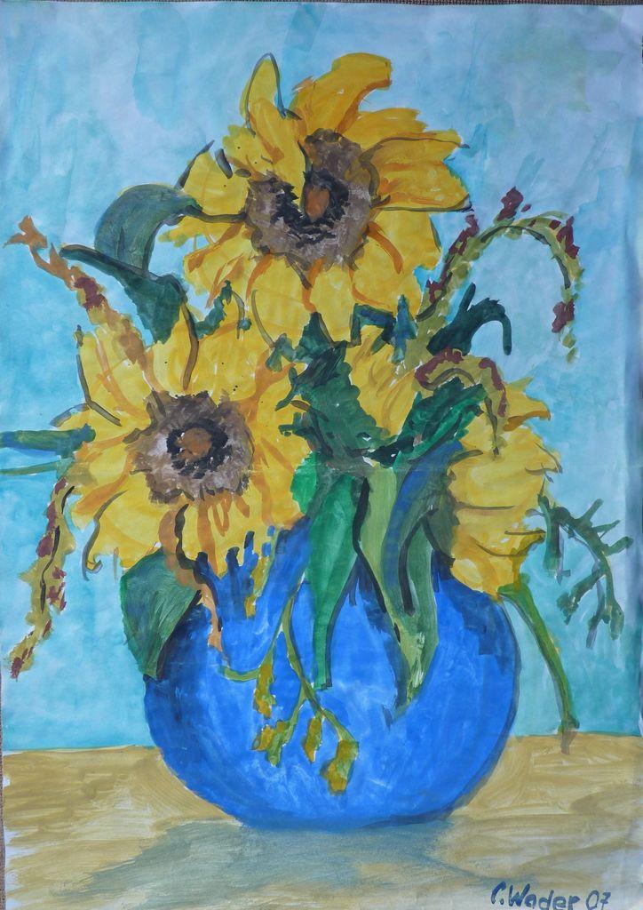 vase mit sonnenblumen 1 blumenstrau vase sonnenblumen blau von wader art bei kunstnet. Black Bedroom Furniture Sets. Home Design Ideas