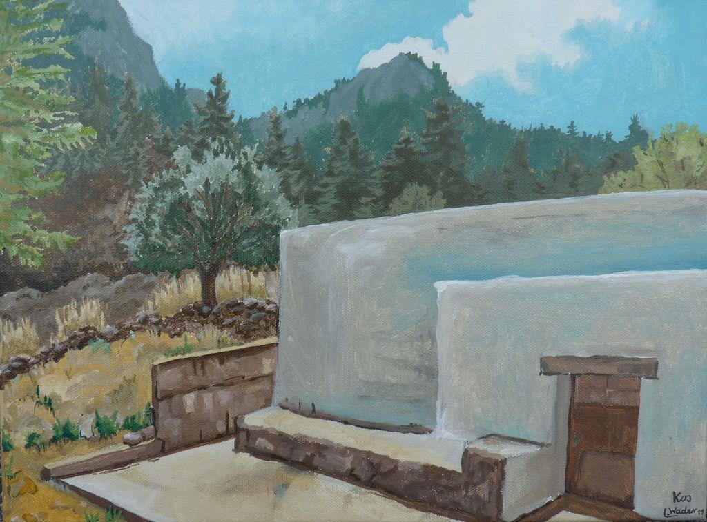bild urlaub kos griechenland bergdorf von wader art bei kunstnet. Black Bedroom Furniture Sets. Home Design Ideas