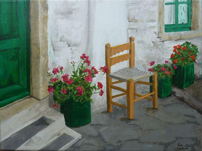 Geranie, Fenster, Griechenland, Reise, Blumen, Schatten