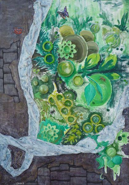 Acrylmalerei, Mauer, Raupe, Malerei, Grün, Käfer