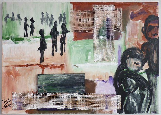 Figur, Collage, Menschen, Trost, Jute, Familie