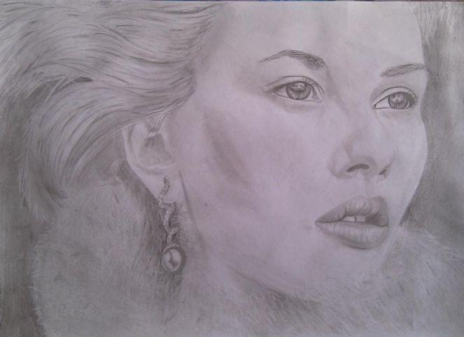 Bleistiftzeichnung, Portrait, Frau, Zeichnungen