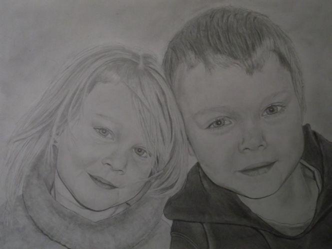 Kohlezeichnung, Kinder, Bleistiftzeichnung, Mädchen, Junge, Zeichnungen