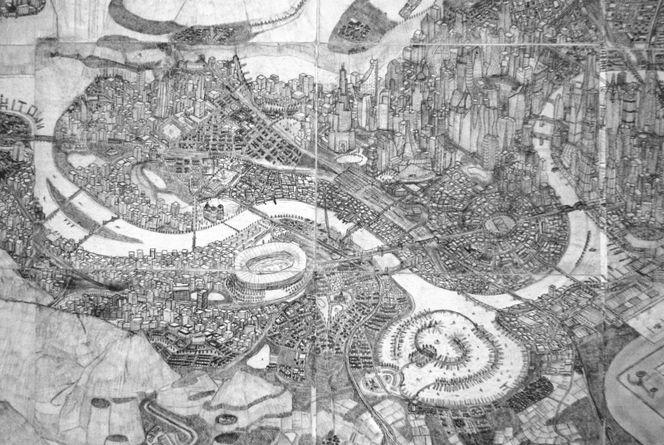 Kunsthandwerk, Bleistiftzeichnung, Fantasie, Skizze, Grafik, Stadt
