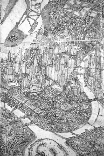 Fantasie, Stadt, Grafik, Skizze, Bleistiftzeichnung, Kunsthandwerk