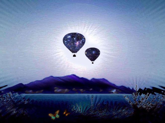 Ballon, Natur, Sonne, Landschaft, Himmel, Digital art