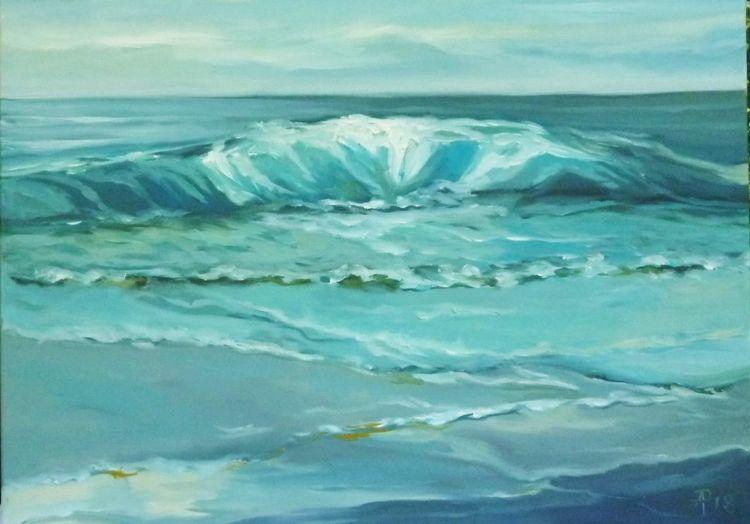 Nordsee, Strand, Blau, Wasser, Welle, Malerei
