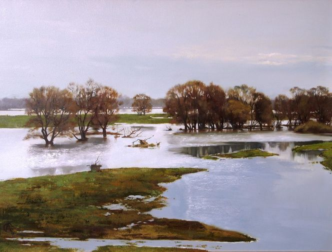 Realistische malerei, Landschaft, Ölmalerei, Landschaftsmalerei, Malerei, Hochwasser
