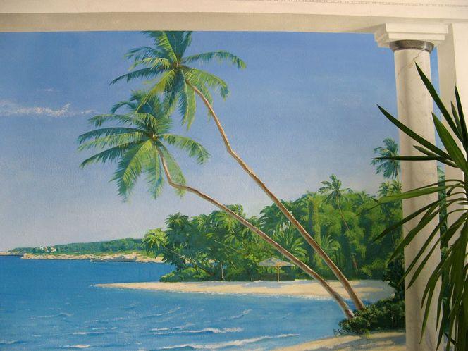 Realistische malerei, Landschaft, Landschaftsmalerei, Wandmalerei, Illusionsmalerei, Malerei