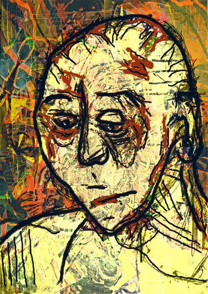 Digital art, Mixed media, Mann, Portrait, Zeichnung, Fusion