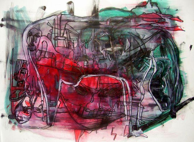Tuschmalerei, Acrylmalerei, Menschen, Zeichnung, Mischtechnik, Pferde