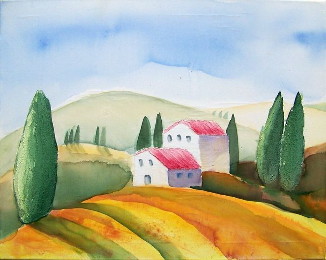 Natur, Haus, Toskana, Feld, Baum, Mischtechnik