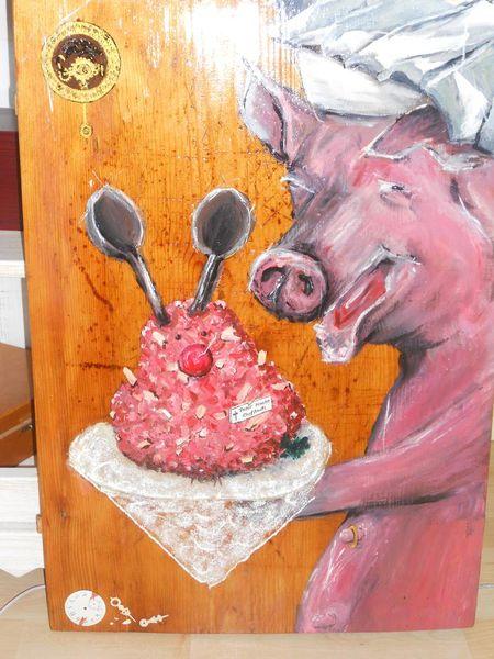 Acrylmalerei, Stuhmalerei, Schwein, Lustige malerei, Bemalte stühle, Möbelmalerei