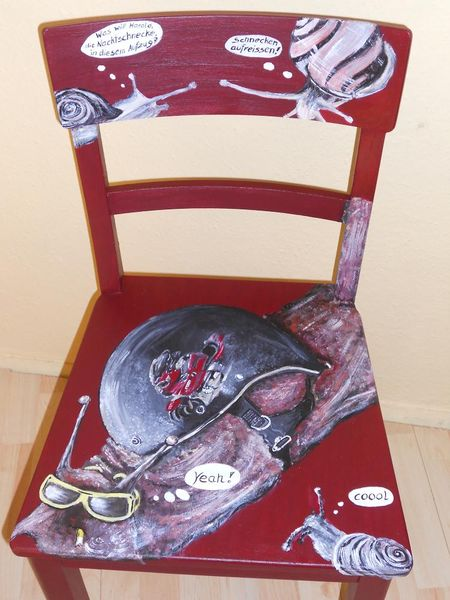 Schnecken, Acrylmalerei, Bemalte stühle, Möbelmalerei, Lustige malerei, Design