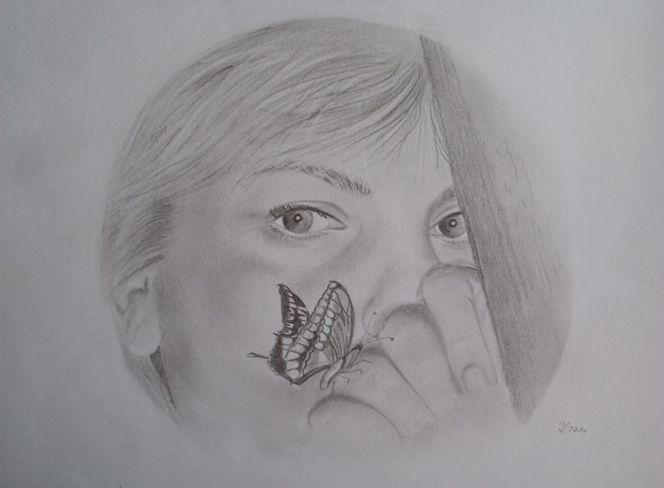 Bleistiftzeichnung, Hände, Augen, Berührung, Schmetterling, Zeichnungen