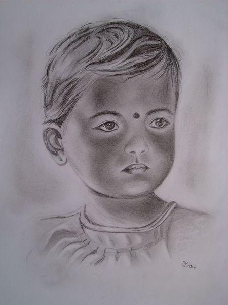 Bleistiftzeichnung, Augen, Indien, Gesicht, Portrait, Zeichnungen