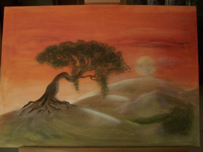 Himmel, Sonnenuntergang, Aquarellmalerei, Baum, Mond, Abendrot