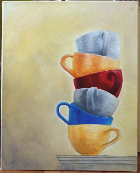 Stillleben, Acrylmalerei, Gelb, Tasse, Malerei