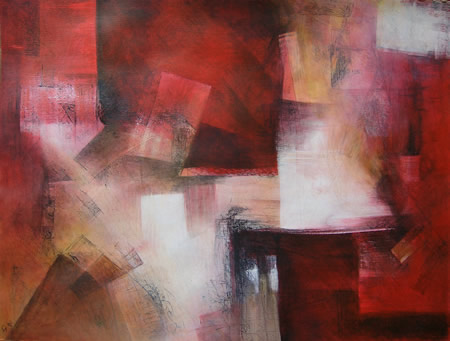 Mischtechnik, Rot schwarz, Weiß, Malerei, Abstrakt,