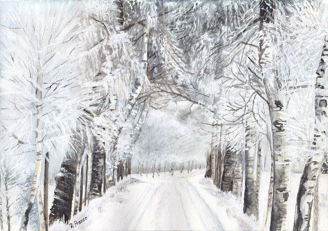 Schnee, Landschaft, Aquarellmalerei, Winter, Allee, Birken