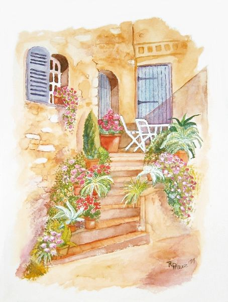 Aquarellmalerei, Haus, Toskana, Aquarell,