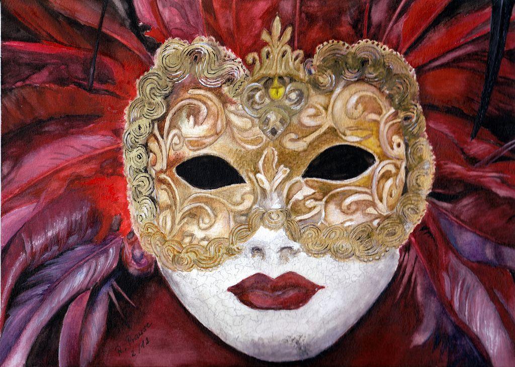 Die Maske Fasching Maske Feder Rot Von Renate Prause Bei Kunstnet