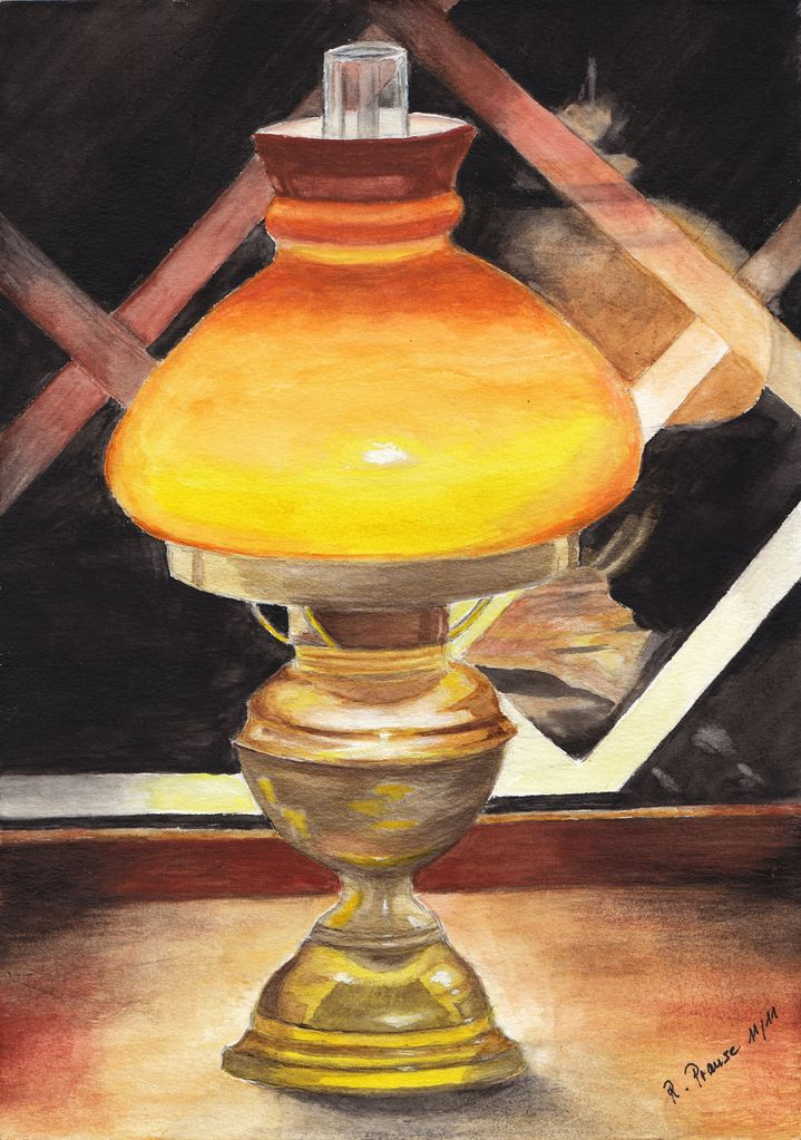 Lampe Am Kuchenfenster Fenster Gelb Stillleben Aquarellmalerei