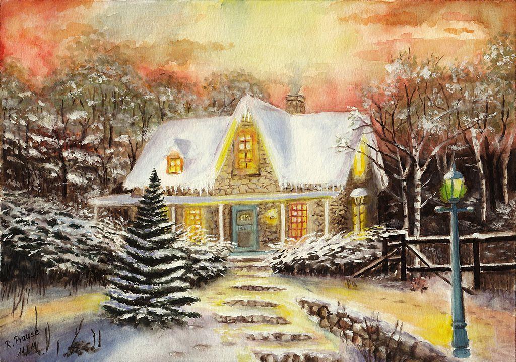 winterabend wei winter weihnachten schnee von renate. Black Bedroom Furniture Sets. Home Design Ideas