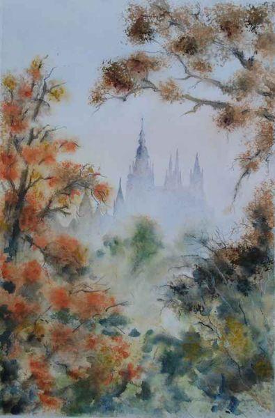 Aquarellmalerei, Herbst, Veitsdom, Prag, Aquarell