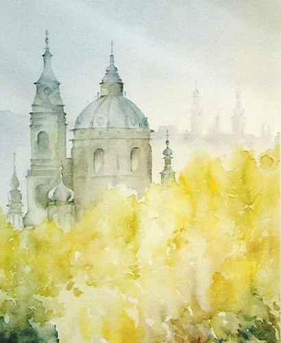 Aquarellmalerei, Kostel, Prag, Praha, Nikolaikirche, Aquarell