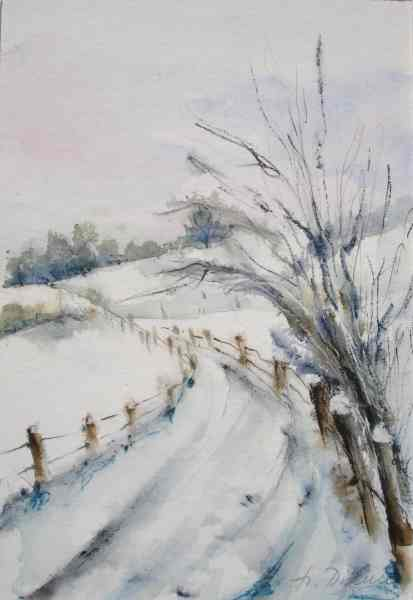 Aquarellmalerei, Winterlandschaft, Winter, Baselbiet, Schnee, Aquarell