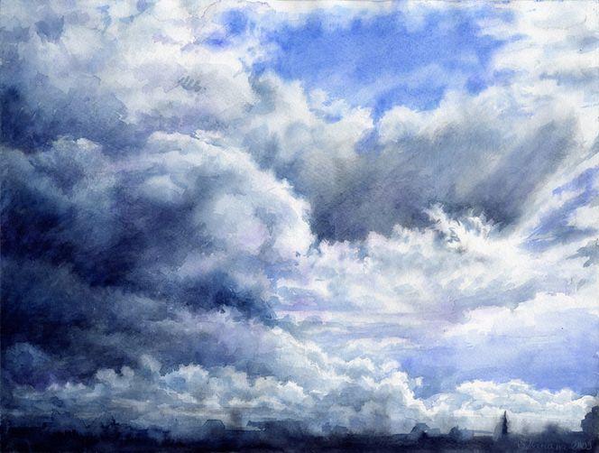 Aquarell, Wolken