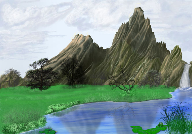 Berge, Sumpf, Bach, Wiese, Baum, Quelle